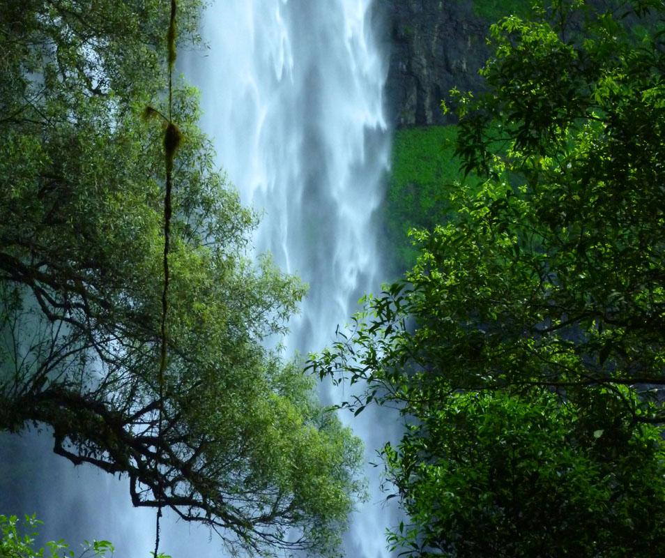 Eine Wasserwand verdeckt die Felsen