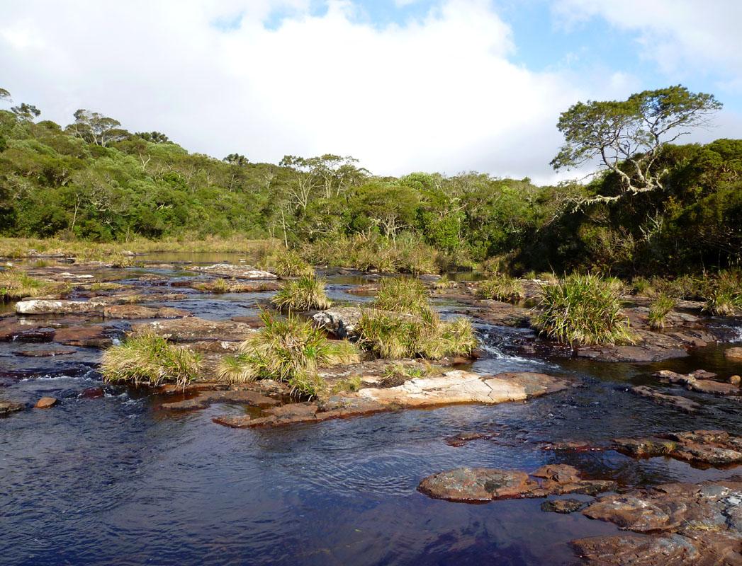 Fluss oberhalb eines Wasserfalls